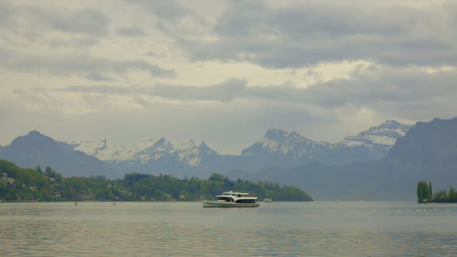 Passenger Craft over Lake Lucerne and Mountain