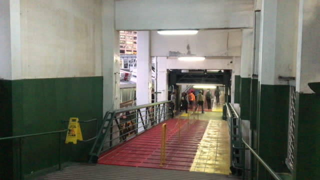 passenger disembark leave star ferry hong kong - star ferry stock videos & royalty-free footage