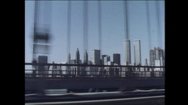 passenger pov driving over manhattan bridge; 1975 - skyline stock videos & royalty-free footage