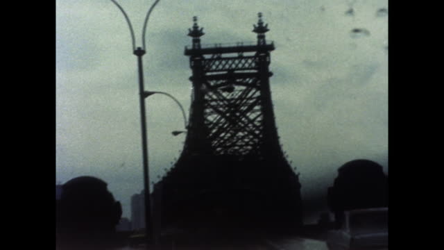 passenger pov driving over queensboro bridge; 1971 - gothic style stock videos & royalty-free footage