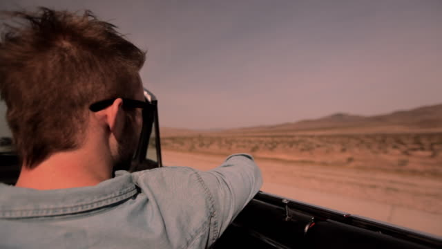 A passenger looks out from a convertible to the Nevada desert landscape.
