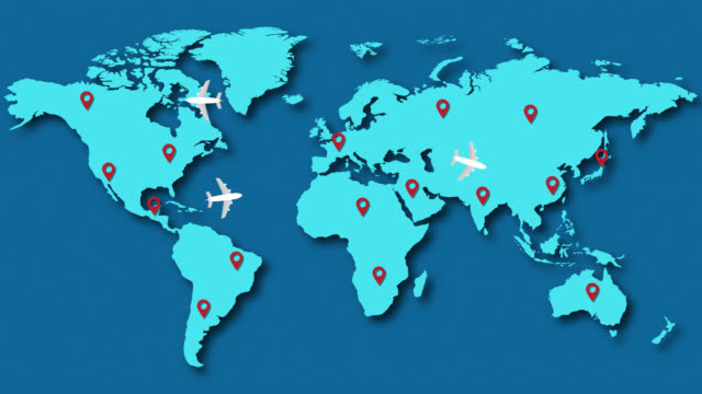 passenger planes flying over world map - map pin icon stock videos and b-roll footage