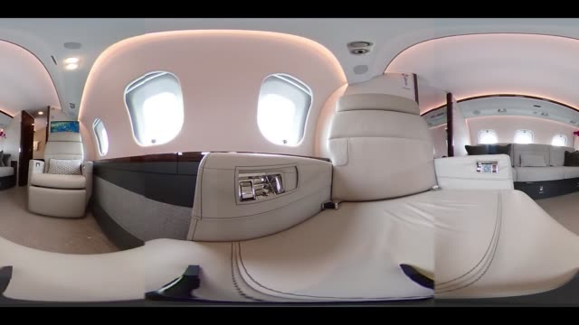 Video was created as an Equirectangular Panorama Import video into a panoramic player to create an interactive 360 degree view Passenger seats sit...