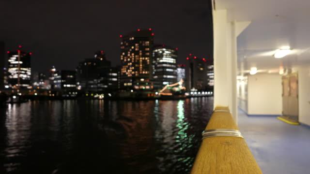旅客船出発島夜に、東京 - 商港点の映像素材/bロール