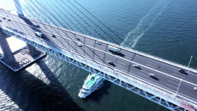a passenger ship running under the suspension bridge - ship's bridge stock videos & royalty-free footage
