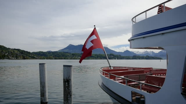 passenger ship with swiss flag - lake lucerne stock videos & royalty-free footage