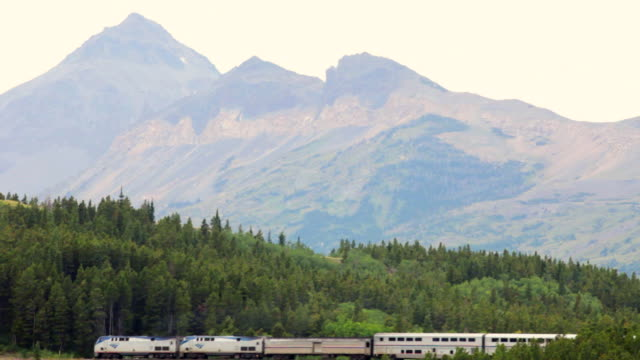 WS AMTRAK Passenger train at Marias Pass and Glacier National Park, Montana, USA