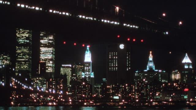 a passenger train crosses the brooklyn bridge in new york city, new york. - 1995 stock videos & royalty-free footage
