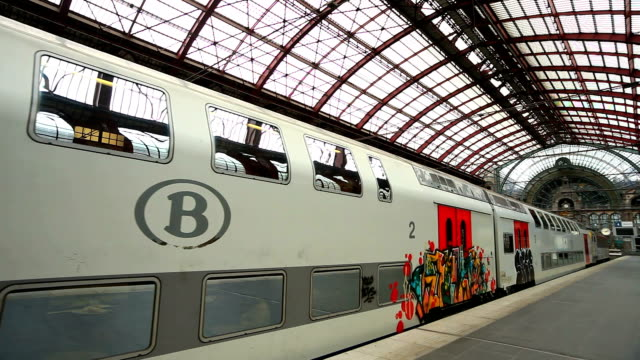 Passenger Train Departing from Antwerp Central Station