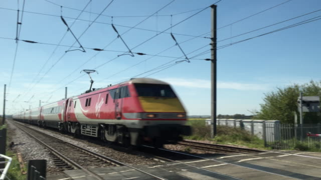 Passenger train heading north on the East Coast Mainline
