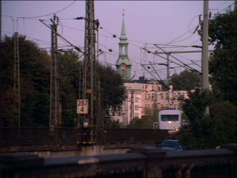 stockvideo's en b-roll-footage met passenger train moves thru hamburg - 1992