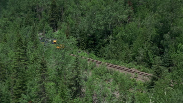WS ZI AERIAL Passenger train passing by lush forest into tunnel / Canada