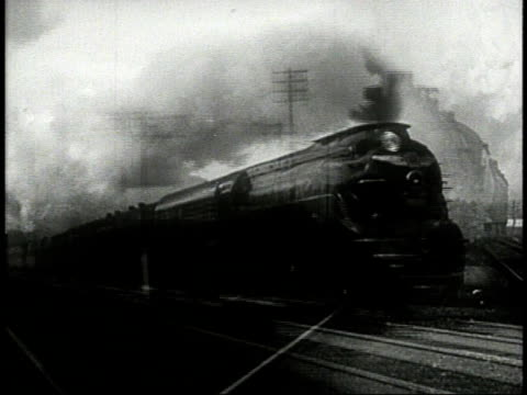 1944 MONTAGE passenger train speeding along tracks
