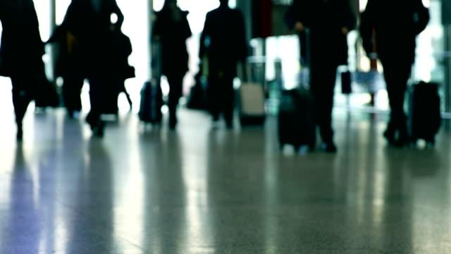 Passenger walking,blurred motion