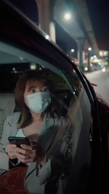 passenger wearing surgical mask all the time. - taxi stock videos & royalty-free footage