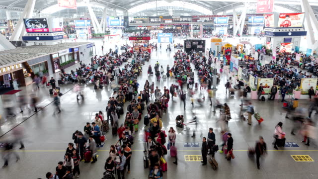 t/l ws zi passengers at highspeed railway station / guangzhou, china - transportation event stock videos and b-roll footage