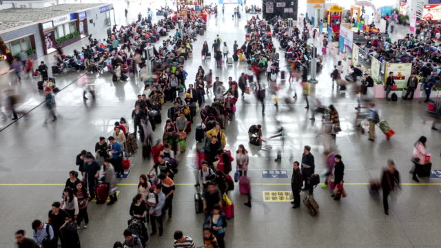 t/l ws zo passengers at highspeed railway station / guangzhou, china - people in a line stock videos & royalty-free footage