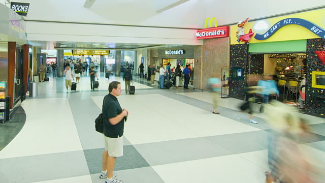 ws t/l passengers at los angeles international airport / los angeles, california, usa - mcdonald's stock videos & royalty-free footage