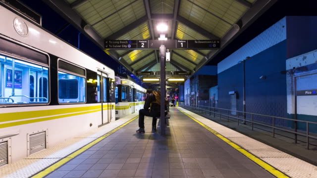 Passengers at Pico Station, Los Angeles - Motion Timelapse.