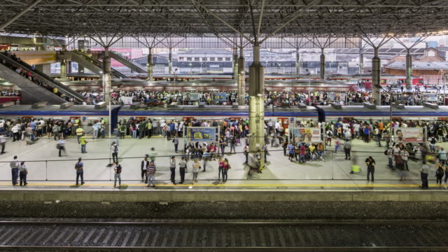 TL, WS Passengers board and disembark from trains at rush hour / Sao Paulo, Brazil