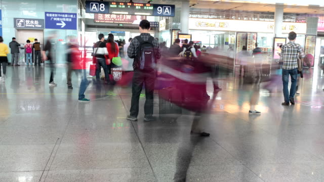 t/l ms passengers check-in at highspeed railway station / guangzhou, china - transportation event stock videos and b-roll footage