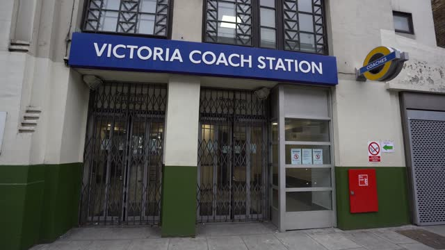 passengers entry to victoria coach station is closed down on january 10, 2021 in london, england. transport company's national express and megabus to... - building entrance stock videos & royalty-free footage