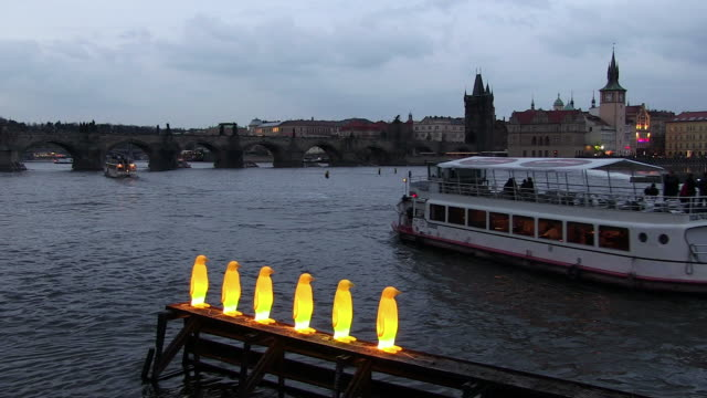 ms passengers ferries flowing in vltava river at night  / prague, hlavni mesto praha, czech republic - river vltava stock videos & royalty-free footage