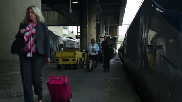 Passengers get off an Acela Express train at Union Station Washington DC May 26 2015