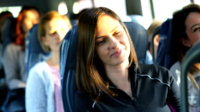 passengers in the bus - autobus video stock e b–roll