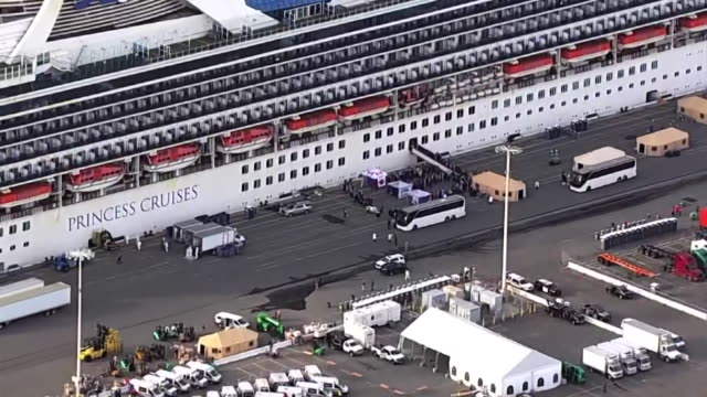 passengers leaving cruise ship, grand princess, after it was docked off the coast of san francisco after it was hit by coronavirus - cruise stock videos & royalty-free footage