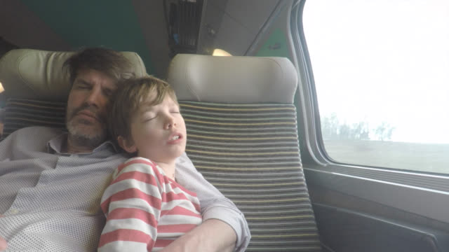 vidéos et rushes de passengers on a train, father and his son - train