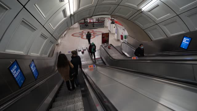 passengers on the escalator at liverpool street station during what would traditionally be peak times on january 11, 2021 in london, united kingdom.... - mode of transport stock videos & royalty-free footage