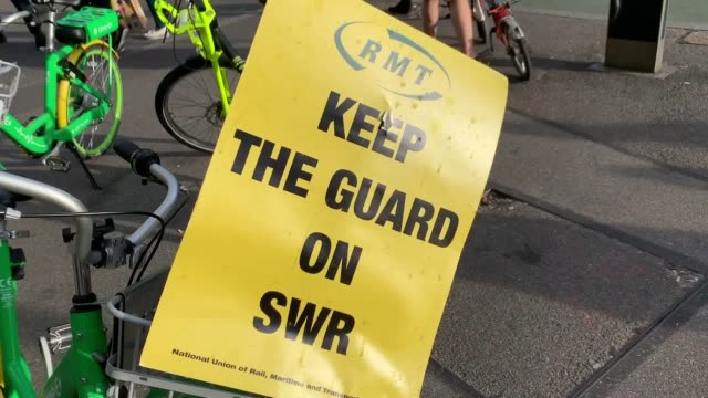 passengers travelling on south western railway services face disruption as rail staff begin a four-day walkout across the network in a dispute over... - strike industrial action stock videos & royalty-free footage