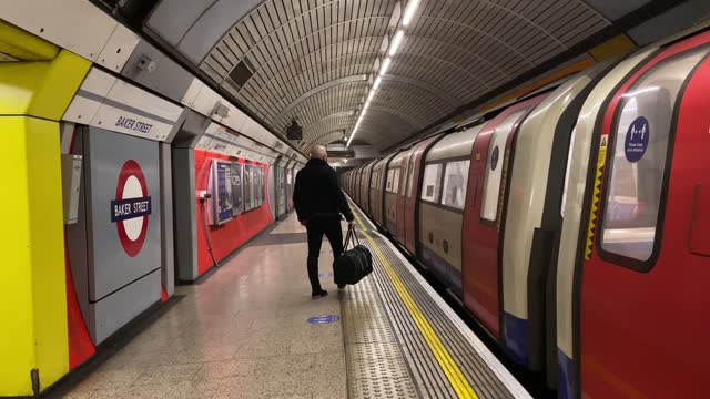 passengers wait on a near empty train platform at baker street station during what would traditionally be peak times on january 11, 2021 in london,... - land vehicle stock videos & royalty-free footage