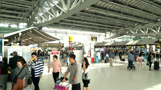 Passengers walking in Suvanaphumi Airport, Bangkok