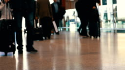Passengers walking in the airport