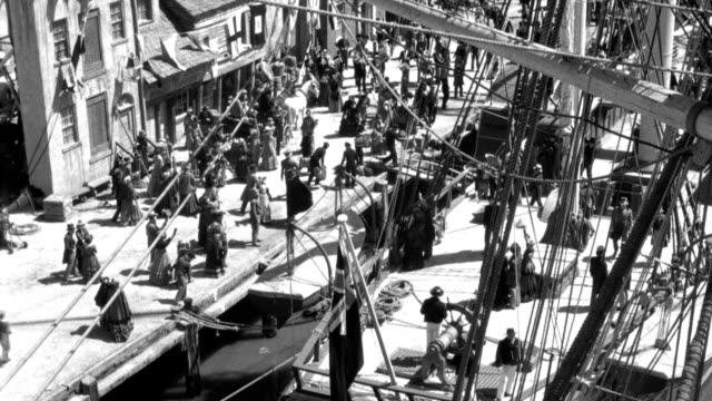 passengers wave to friends after they board the first steamship dog star. - 19th century stock videos & royalty-free footage