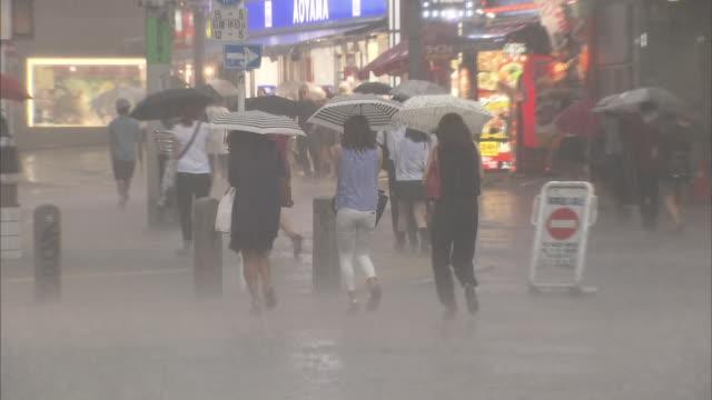 passersby walk across a scramble crossing under the heavy rain/shot at the tokyo shibuya on september 102014 - 集中豪雨点の映像素材/bロール