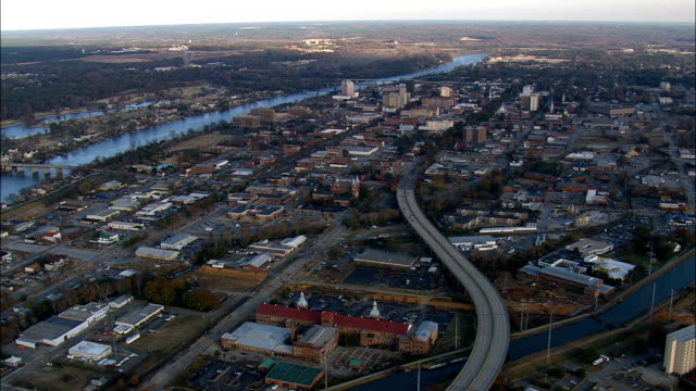 passing augusta  - aerial view - georgia,  richmond county,  united states - augusta maine stock videos & royalty-free footage