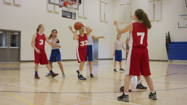 Passing drill during girls basketball practice
