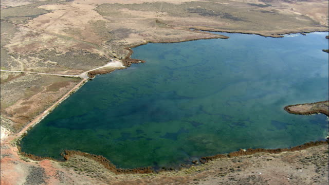 Passing Renner Reservoir  - Aerial View - Wyoming, Big Horn County, United States