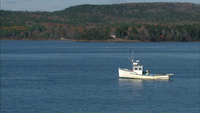 passing small fishing boat not moving on penobscot bay blue waters unidentifiable person on ship partial island w/ tree hills bg ship moving - augusta maine stock videos & royalty-free footage