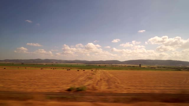 passing through the agricultural farms in the jezreel valley - zugperspektive stock-videos und b-roll-filmmaterial