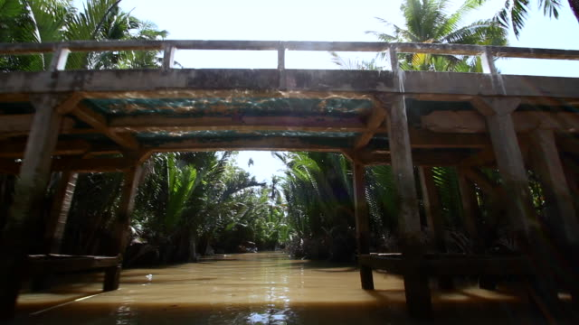 Passing under a Bridge on a River in Vietnam