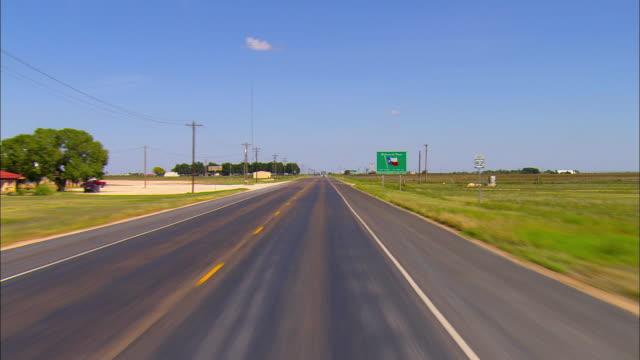 POV, Passing  Welcome to Texas sign on roadside near Seminole, Texas, USA