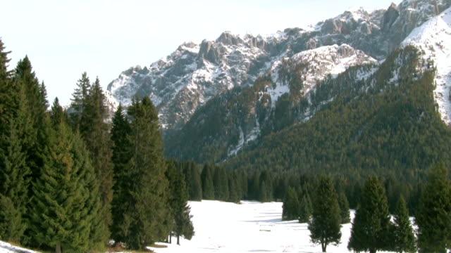 passo campo carlo magno in the winter. - val di fassa stock videos and b-roll footage