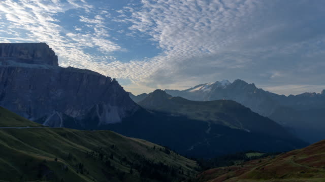 Passo sella view point in Dolomites, Italy,4k time-lapse