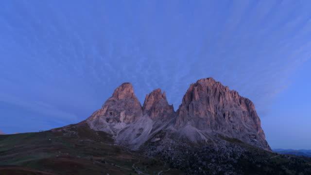 Passo sella oogpunt in Dolomieten, Italië, 4k time-lapse