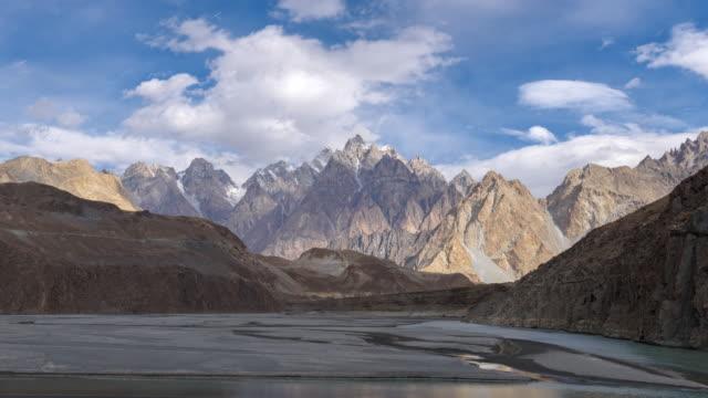passu suspension bridge in pakistan , time-lapse 4k - topography stock videos & royalty-free footage