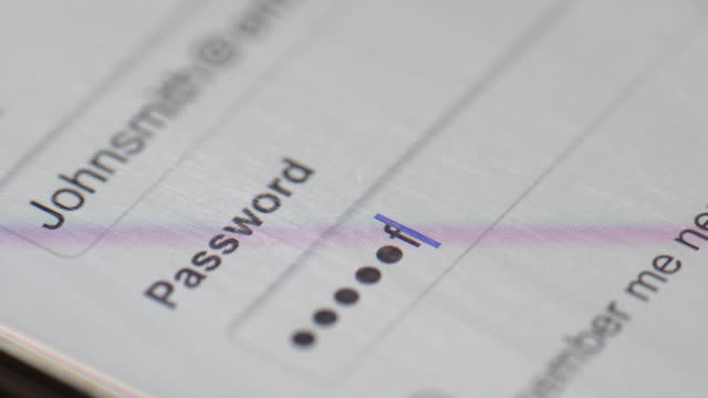 password sul computer schermo - sicurezza di rete video stock e b–roll